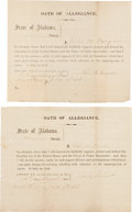 Miscellaneous:Ephemera, [Civil War]. Two State of Alabama Loyalty Oaths....
