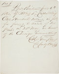 Autographs:U.S. Presidents, [Abraham Lincoln]. Receipt for the 1860 Presidential Campaign....
