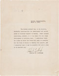 Autographs:Celebrities, Charles Lindbergh Typed Letter Signed...