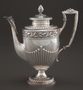 Silver Holloware, British:Holloware, A GERMAN SILVER COFFEE POT . Maker unknown, Germany, circa 1890.Marks: (crescent-crown), 800, RANGE, C 31909, F. 10 inc...