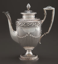A GERMAN SILVER COFFEE POT Maker unknown, Germany, circa 1890 Marks: (crescent-crown), 800, RANGE, C 31909