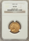Indian Half Eagles: , 1909-S $5 AU58 NGC. NGC Census: (200/185). PCGS Population(62/162). Mintage: 297,000. Numismedia Wsl. Price for problem fr...