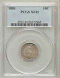 Seated Dimes: , 1850 10C XF45 PCGS. PCGS Population (12/102). NGC Census: (6/110).Mintage: 1,931,500. Numismedia Wsl. Price for problem fr...