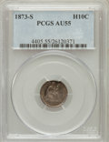 Seated Half Dimes: , 1873-S H10C AU55 PCGS. PCGS Population (18/231). NGC Census:(5/248). Mintage: 324,000. Numismedia Wsl. Price for problem f...