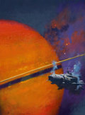 Pulp, Pulp-like, Digests, and Paperback Art, JOHN HARRIS (English, b. 1948). Earth Made of Glass, bookcover, 1994. Oil on canvas. 16.5 x 12.25 in.. Signed lowerlef...