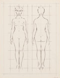 Pin-up and Glamour Art, FRITZ WILLIS (American, 1907-1979). The Basic Proportional Scaleof a Woman's Figure, How to Draw the Nude book illustrati...(Total: 2 Items)