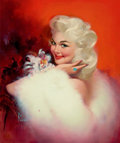 Pin-up and Glamour Art, EDWARD RUNCI (American, 1921-1986). Platinum Blonde Posing.Oil on canvas. 23.75 x 19.75 in.. Signed lower left. ...