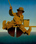 Paintings, MAXFIELD PARRISH (American, 1870-1966). Fisherman on Pier, LIFE Magazine cover, August 25, 1921. Oil over engraver's pro...