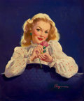 Pin-up and Glamour Art, GIL ELVGREN (American, 1914-1980). Coca-Cola advertisement.Oil on canvas. 24 x 20 in.. Signed lower right. ...