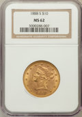 Liberty Eagles: , 1888-S $10 MS62 NGC. NGC Census: (507/82). PCGS Population(469/130). Mintage: 648,700. Numismedia Wsl. Price for problem f...