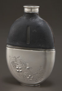 AN AMERICAN SILVER, LEATHER AND GLASS FLASK Maker unknown, American, circa 1900 Marks: RPL (partial