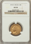Indian Half Eagles: , 1910-S $5 AU50 NGC. NGC Census: (40/1145). PCGS Population(71/599). Mintage: 770,200. Numismedia Wsl. Price for problem fr...