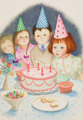 "Pulp, Pulp-like, Digests, and Paperback Art, GARTH WILLIAMS (American, 1912-1996). Over and Over, ""Then theGirl Made a Wish and Blew Out the Candles"", page 24 illustr..."