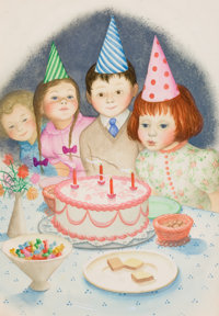 """GARTH WILLIAMS (American, 1912-1996) Over and Over, """"Then the Girl Made a Wish and Blew Out the Candles"""", page..."""