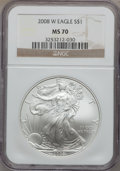 Modern Bullion Coins, 2008 $1 Silver Eagle MS70 NGC. NGC Census: (18782). PCGS Population(1631). (#393057)...