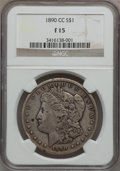 1890-CC $1 Fine 15 NGC. NGC Census: (57/5443). PCGS Population (102/9816). Mintage: 2,309,041. Numismedia Wsl. Price for...