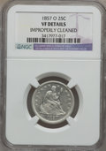 Seated Quarters: , 1857-O 25C -- Improperly Cleaned -- NGC Details. VF. NGC Census:(0/61). PCGS Population (4/88). Mintage: 1,180,000. Numism...