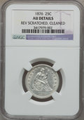 Seated Quarters: , 1876 25C -- Cleaned, Rev Scratched -- NGC Details. AU. NGC Census:(6/414). PCGS Population (25/516). Mintage: 17,817,150. ...