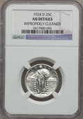 Standing Liberty Quarters: , 1924-D 25C -- Improperly Cleaned -- NGC Details. AU. NGC Census:(4/1201). PCGS Population (16/1517). Mintage: 3,112,000. N...
