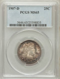 Barber Quarters, 1907-D 25C MS65 PCGS....