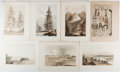 """Books:Prints & Leaves, Lot of Seven Antique Natural History Plates Featuring Scenes of theAmerican West. 8.5"""" x 11.5"""". Toned along the edged, else..."""