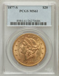 Liberty Double Eagles: , 1877-S $20 MS61 PCGS. PCGS Population (428/283). NGC Census:(673/171). Mintage: 1,735,000. Numismedia Wsl. Price for probl...