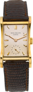 Timepieces:Wristwatch, Patek Philippe Ref. 2456 Vintage Hourglass Rectangle Wristwatch,circa 1950's. ...