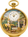 "Timepieces:Pocket (post 1900), Reuge ""The Huntsman's Rest"" Musical Pocket Watch With Automaton& Alarm, circa 1980's. ..."