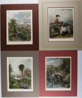 "Books:Prints & Leaves, Lot of Four Antique Colored Illustrations Featuring PastoralScenes. 10.25"" x 14"". Matted. Some toning in the margins, else ..."