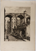 """Books:Prints & Leaves, Antique Engraving of Genoa, Italy """"Une Rue A Genes"""". 12"""" x17"""". Paper toned with some occasional foxing in the m..."""