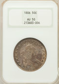 Early Half Dollars: , 1806 50C Pointed 6, Stem AU50 NGC. NGC Census: (57/980). PCGSPopulation (60/158). Mintage: 839,576. Numismedia Wsl. Price ...