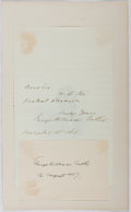 Autographs:Authors, George William Curtis (1824-1892, American writer and publicspeaker). Autograph Letter, Signature, Engraved Portrait andSepi...