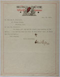 Autographs:Authors, David Belasco (1853-1931, American playwright, director andtheatrical producer). Typed Letter Signed. With old creases, els...