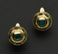 Estate Jewelry:Earrings, Antique Emerald & 18k Gold Mallorcan Button Earrings. ...