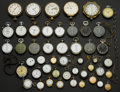 Timepieces:Other , A Grab Box Of 18 Timers 5 Big Eight Days Pocket Watches & 23 Lady's Pocket Watches. ... (Total: 46 Items)