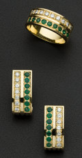 Estate Jewelry:Other , Emerald Gold Ring & Matching Earrings. ... (Total: 2 Items)