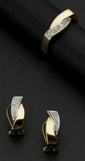 Estate Jewelry:Other , Diamond & Gold Earrings & Matching Ring. ... (Total: 2 Items)