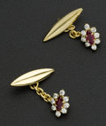 Estate Jewelry:Cufflinks, Ruby & Diamond Gold Cufflinks. ...