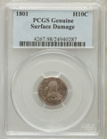 Early Half Dimes, 1801 H10C -- Surface Damage -- PCGS Genuine. This PCGS numberending in 98 suggests Surface Damage as the reason, or perha...