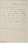 Autographs:Authors, George Washington Cable (1844-1925, American novelist). AutographLetter Signed. Very good....
