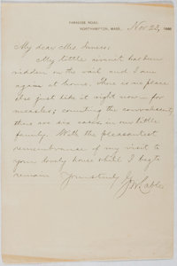George Washington Cable (1844-1925, American novelist). Autograph Letter Signed. Very good