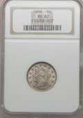 Liberty Nickels: , 1898 5C MS63 NGC. NGC Census: (76/240). PCGS Population (93/292).Mintage: 12,532,087. Numismedia Wsl. Price for problem fr...