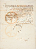 Autographs:Non-American, [Philip IV]. King of Spain Stamped Signature Signed Document...
