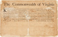 Autographs:Statesmen, [Revolutionary War]. Patrick Henry Military Appointment Signed...
