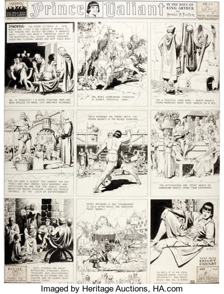 Hal Foster Prince Valiant Sunday Comic Strip #112 Original Art dated 4-2-39 (King Features Syndicate, 1939...