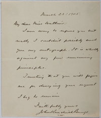 John Kendrick Bangs (1862-1922, American author, editor and satirist). Autograph Letter Signed. Very good condition