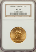 Modern Issues: , 1984-W G$10 Olympic Gold Ten Dollar MS70 NGC. NGC Census: (434). PCGS Population (118). Mintage: 75,800. Numismedia Wsl. Pr...