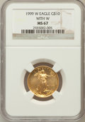 Modern Bullion Coins, 1999-W G$10 Quarter-Ounce With W Gold Eagle MS67 NGC. NGC Census:(53/1397). PCGS Population (117/1666). Numismedia Wsl. P...