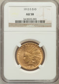 Indian Eagles: , 1913-S $10 AU58 NGC. NGC Census: (293/111). PCGS Population(145/131). Mintage: 66,000. Numismedia Wsl. Price for problem f...