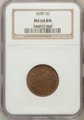 Two Cent Pieces: , 1870 2C MS64 Brown NGC. NGC Census: (66/30). PCGS Population(21/1). Mintage: 860,250. Numismedia Wsl. Price for problem fr...